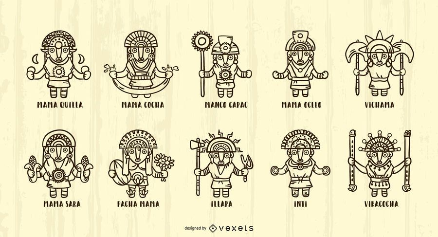 Inca Gods Stroke Illustration Pack