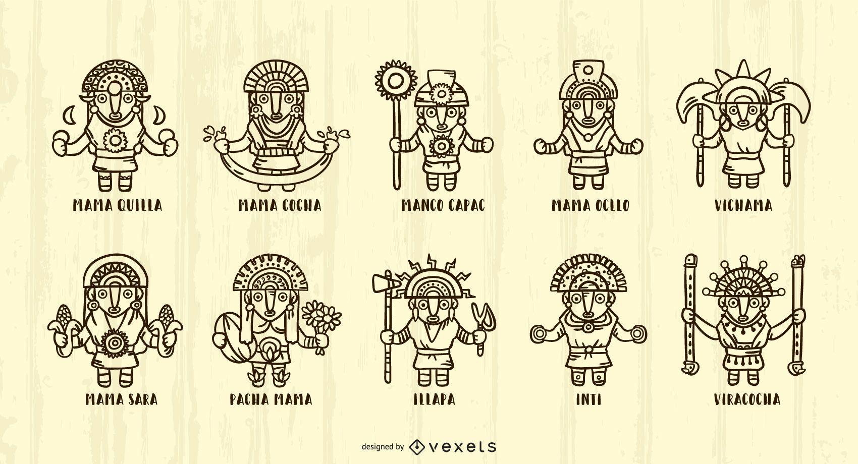 Inca Gods Stroke Illustration Pack