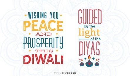 Diwali bunten Schriftzug Set