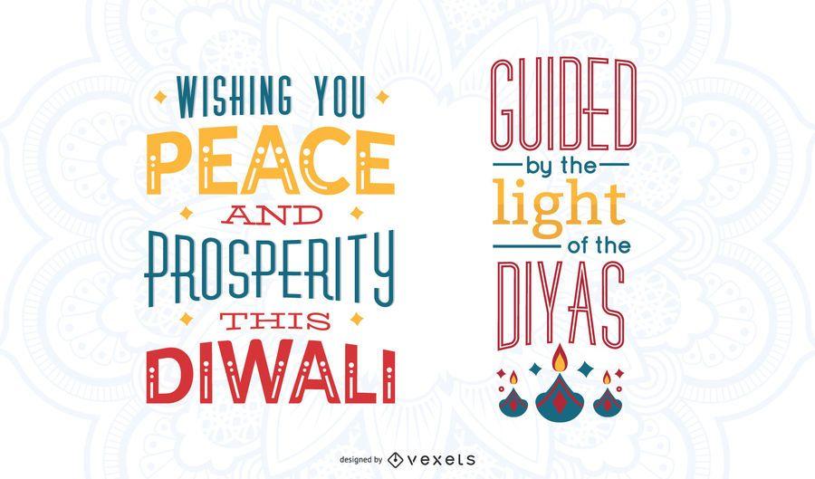 Diwali colorful lettering set