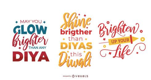 Colorful diwali lettering set