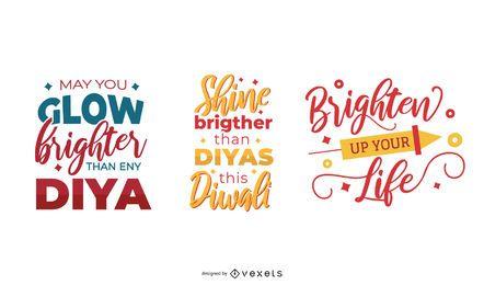 Colorful diwali lettering set