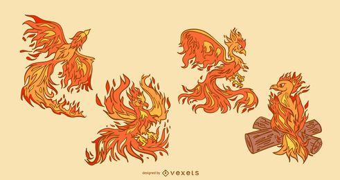 Conjunto de ilustración de ave fénix