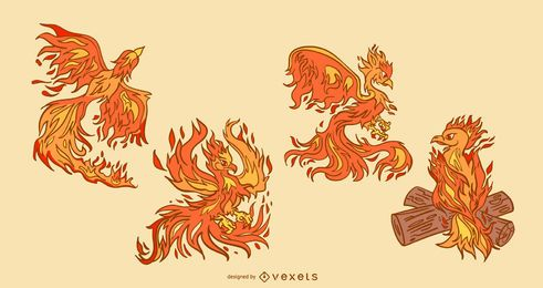 Phoenix Bird Illustration Set