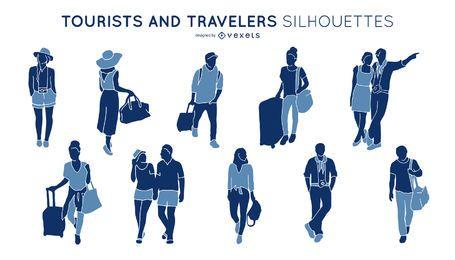 Paquete de silueta de personas turísticas y de viaje