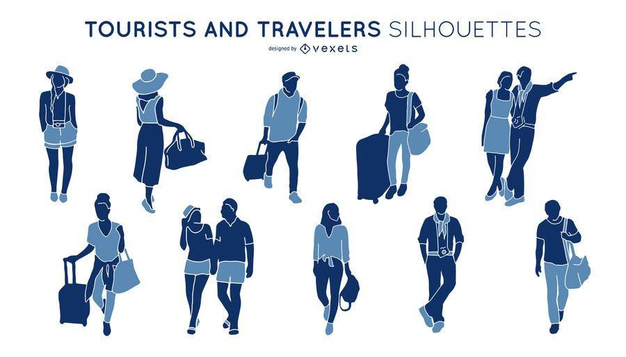 Pacote de silhueta de turistas e viagens pessoas