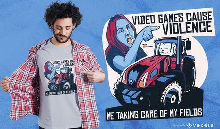 Projeto do t-shirt das citações do jogo video