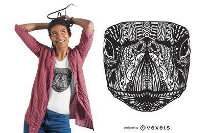 Design de t-shirt com mandala de tartaruga marinha