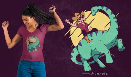 Diseño de camiseta de dinosaurio vaquero