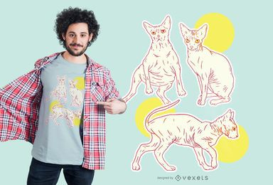 Sphynx Katzen Set T-Shirt Design