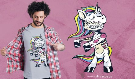 Diseño de camiseta Zombie Unicorn Floss Dance