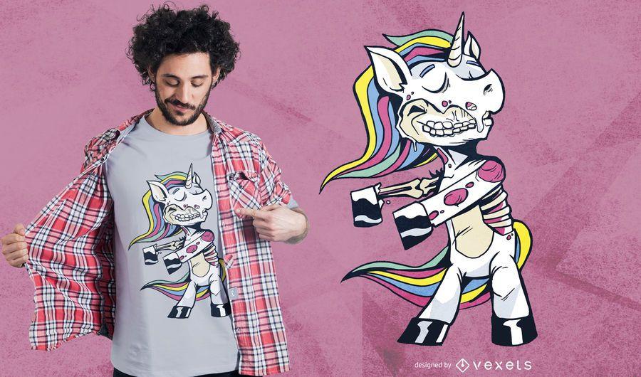 Projeto do t-shirt da dança do floss do unicórnio do zombi