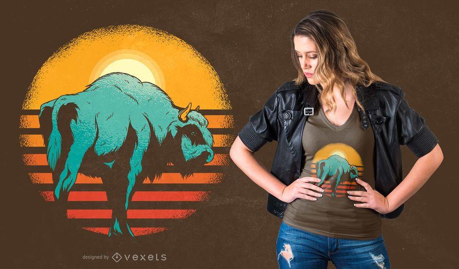 Projeto do t-shirt do bisonte do por do sol do vintage