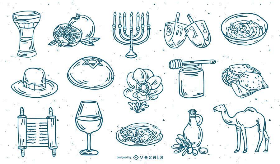 Conjunto de trazos de elementos de Israel