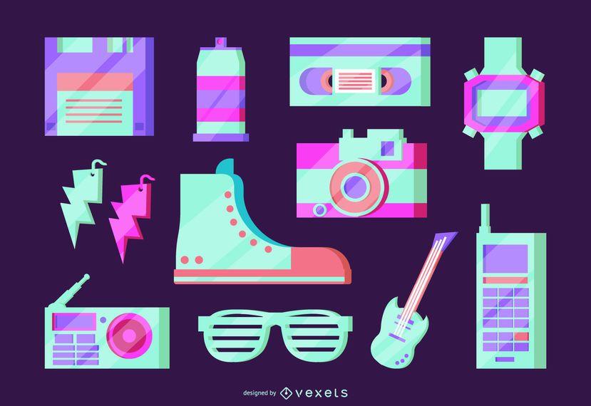 Conjunto de vetores de néon de elementos dos anos 80