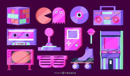 Pacote de elementos vetoriais dos anos 80