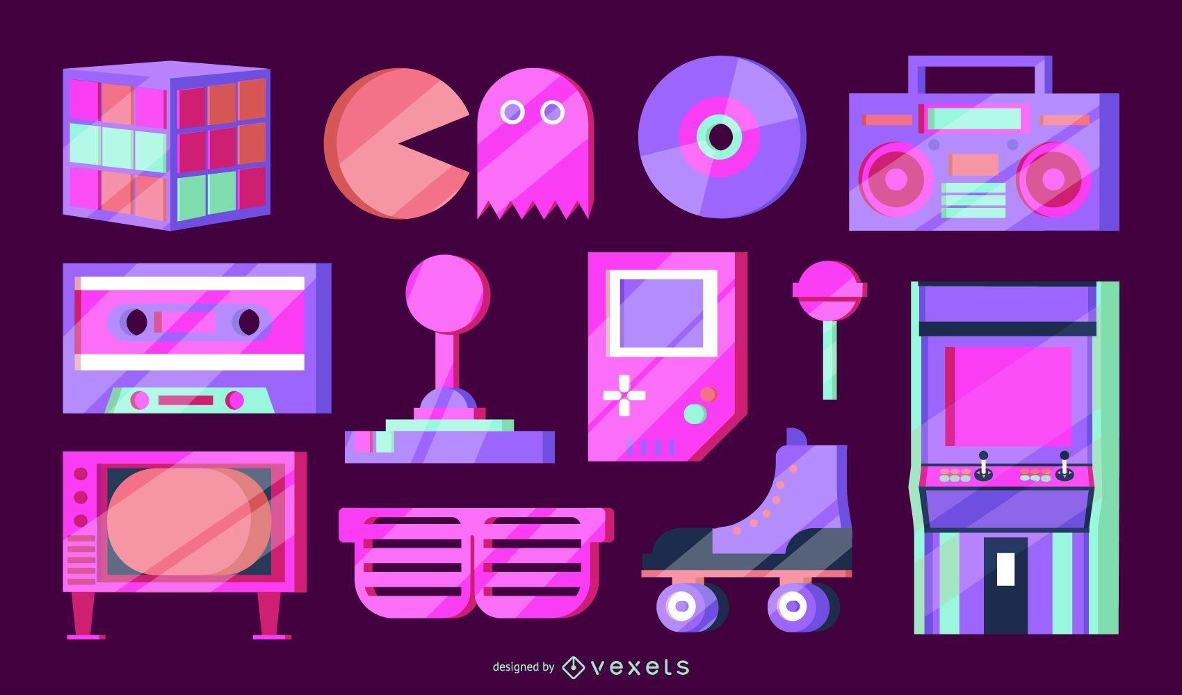 Paquete de elementos vectoriales de neón de los 80