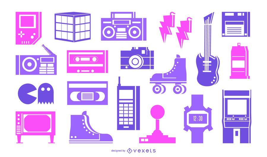 Pacote de elementos de silhueta de néon dos anos 80