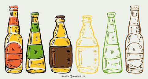 Pacote de ilustração de garrafas de cerveja