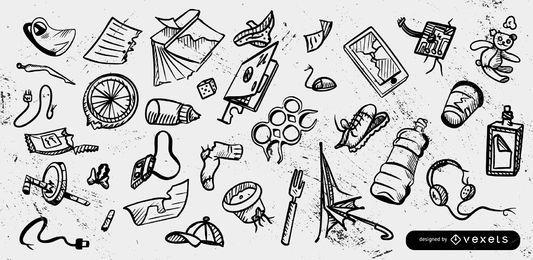 Sammlung von Müllabfallelementen
