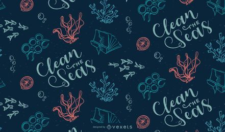 Ocean Garbage Pattern Design