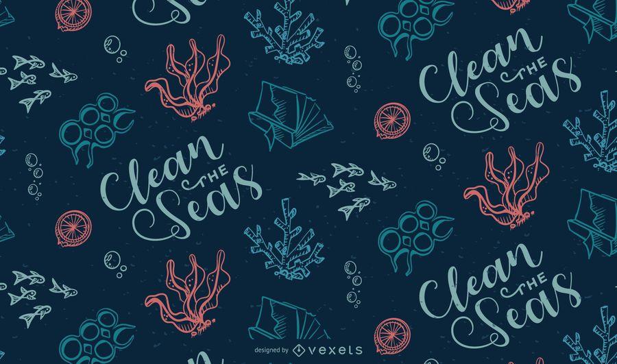 Ocean Garbage Pattern Design