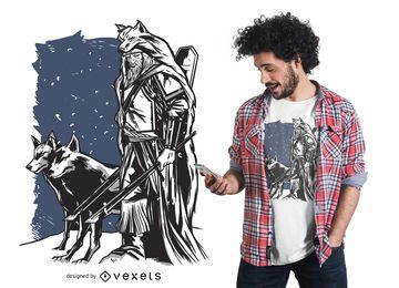 Diseño de camiseta vikinga y lobos
