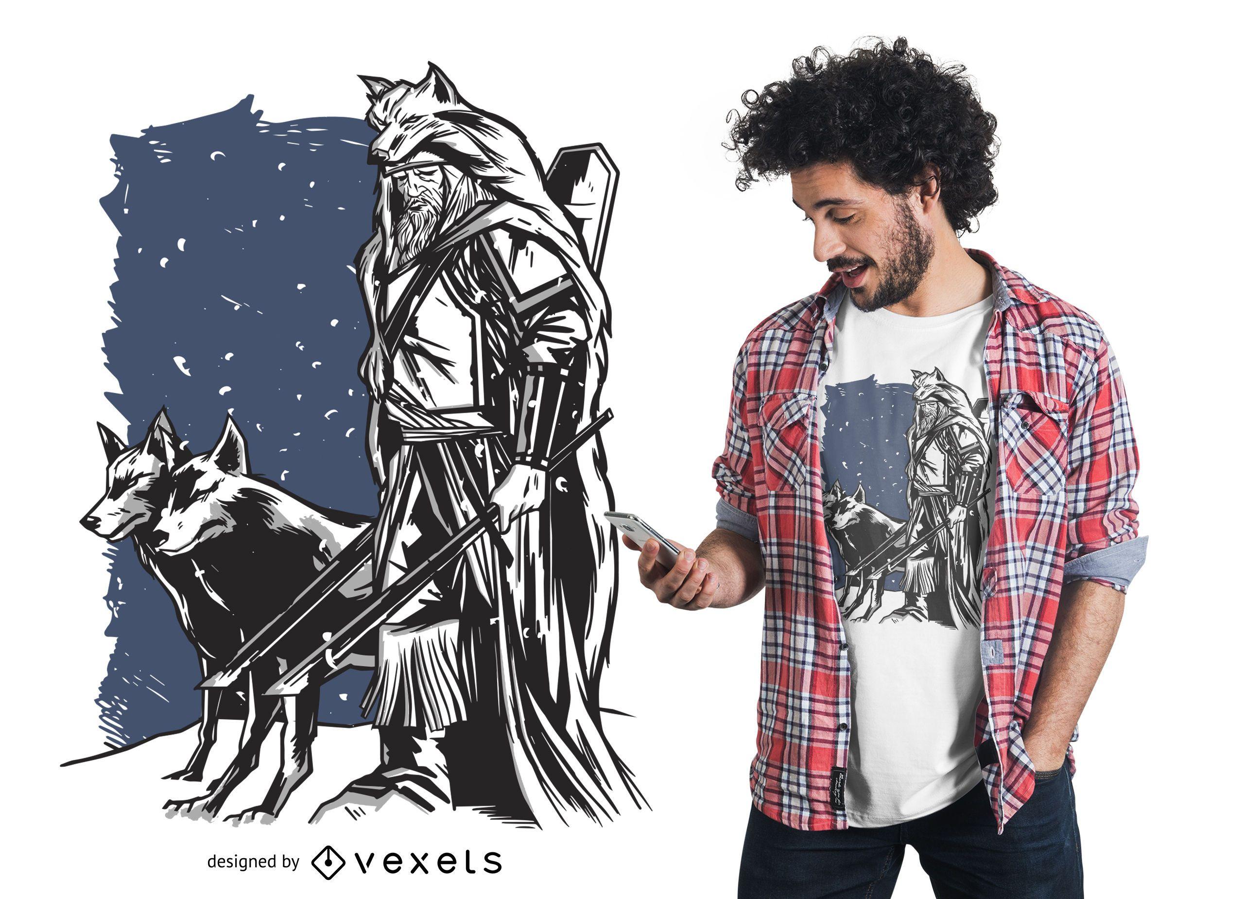 Dise?o de camiseta vikinga y lobos.