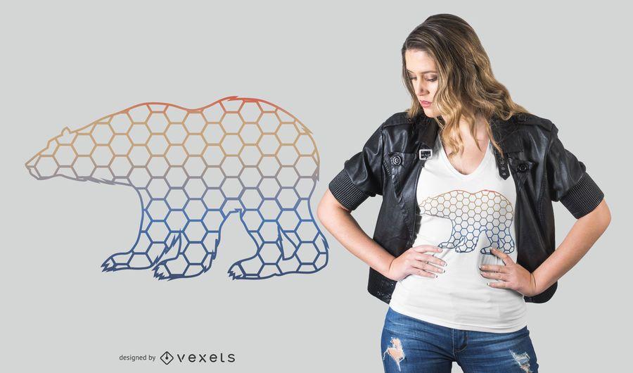 Hexágonos do arco-íris urso design de t-shirt