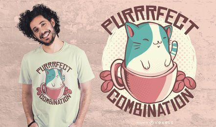 Diseño de camiseta combinada coffee cat