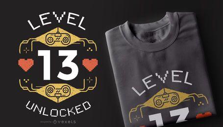 Design de camiseta nível desbloqueado