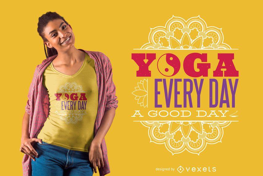 Diseño de camiseta de yoga todos los días