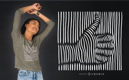 Diseño de camiseta 3D pulgares arriba