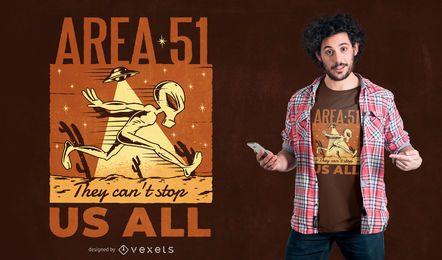 Außerirdischer T-Shirt Entwurf des Bereichs 51
