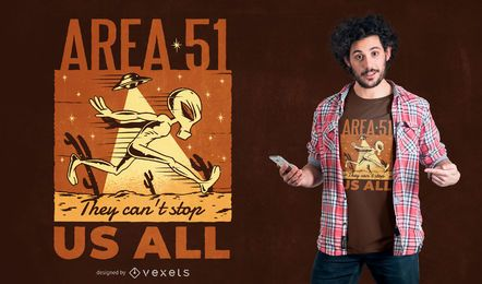 Diseño de camiseta extraterrestre del Área 51