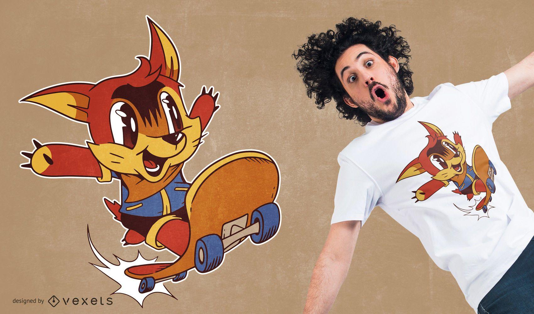 Desenho de t-shirt de raposa skatista cartoon