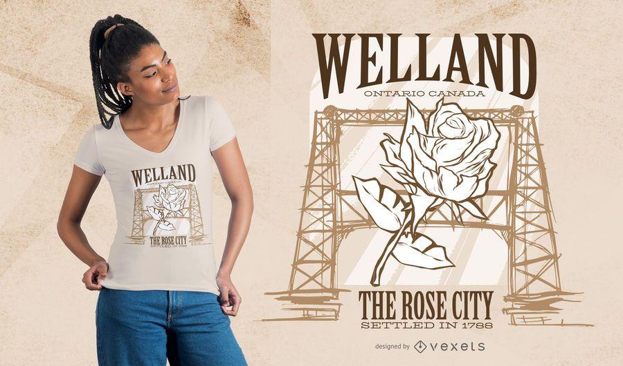 Projeto do t-shirt da cidade de Welland Rosa