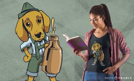 Diseño de camiseta de perro Dachshund bebiendo