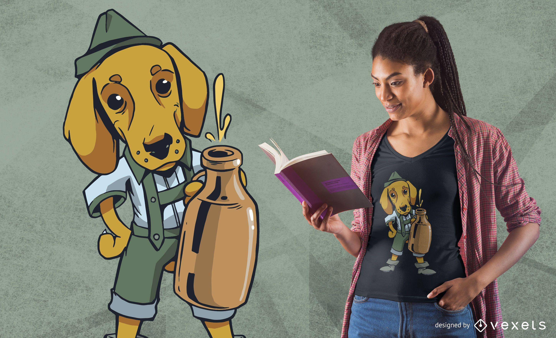 Drinking Dachshund Dog T-shirt Design