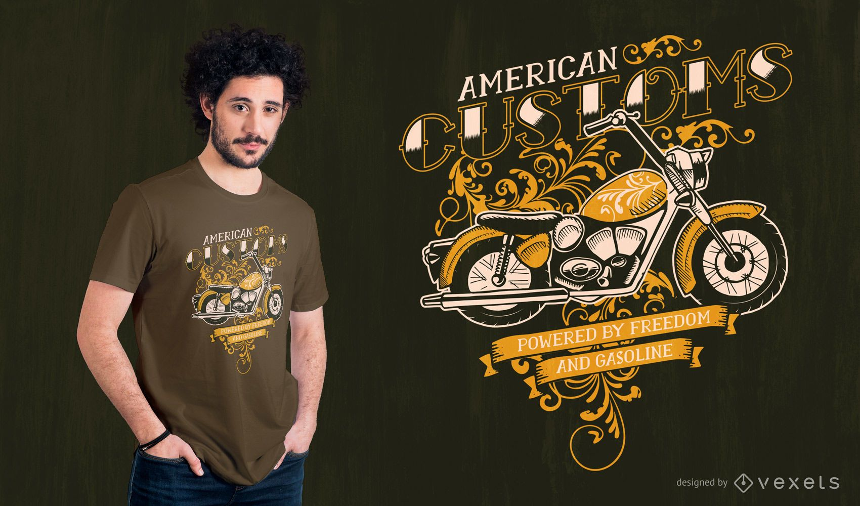 Diseño de camiseta de motocicleta aduanera estadounidense.