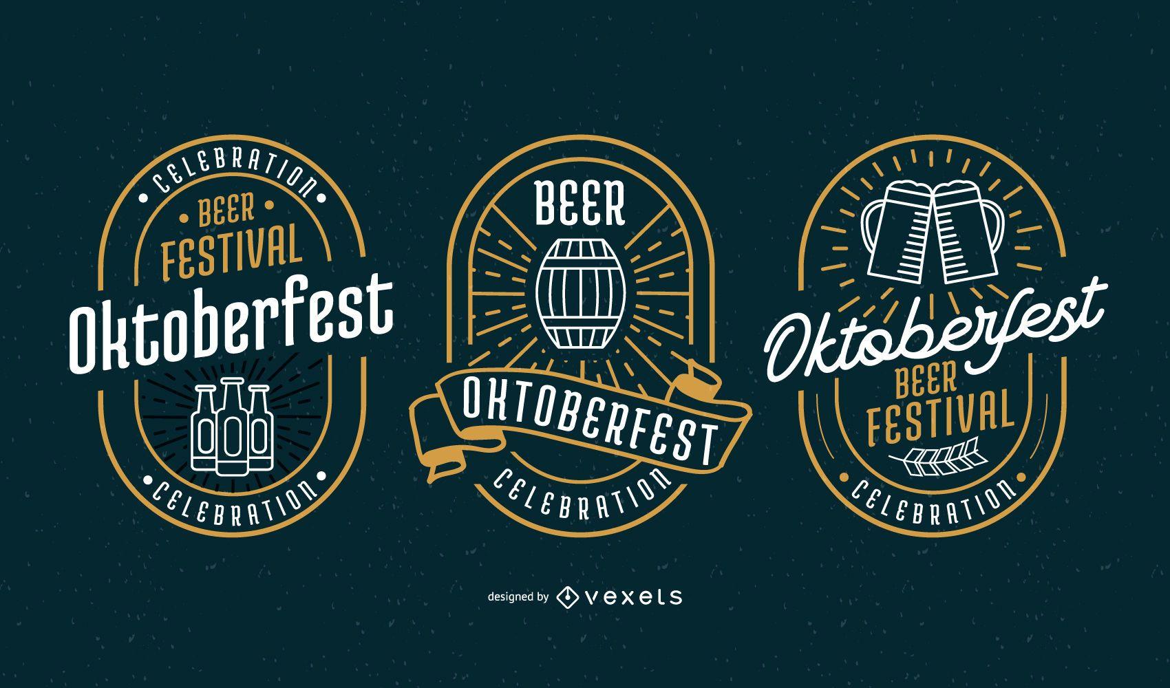 Conjunto de vectores de insignia de Oktoberfest