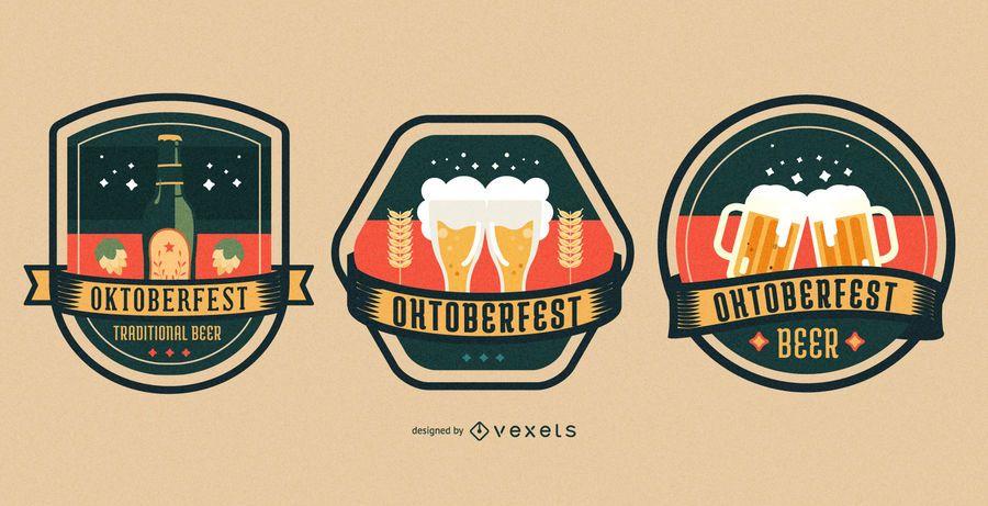 Colorful oktoberfest badge set