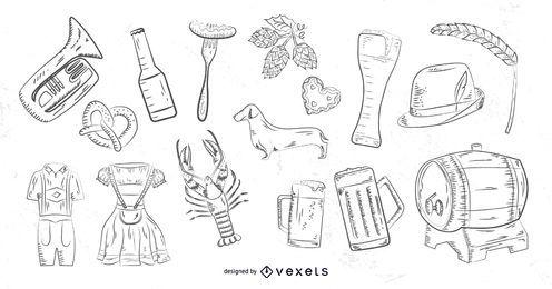 Elementos desenhados mão Oktoberfest