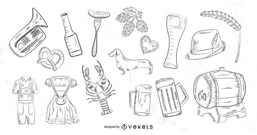 Oktoberfest hand drawn elements