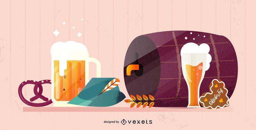 Ilustración de elementos de Oktoberfest