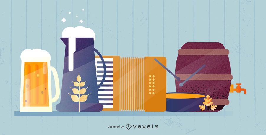Diseño de carteles de elementos de Oktoberfest