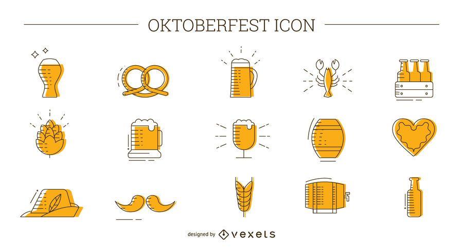 Conjunto de iconos de Oktoberfest