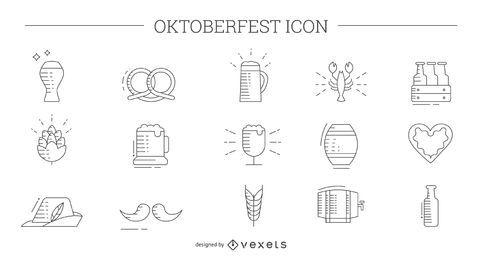 Conjunto de iconos de línea fina de Oktoberfest