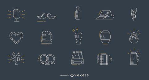 Conjunto de iconos de delgada línea Oktoberfest
