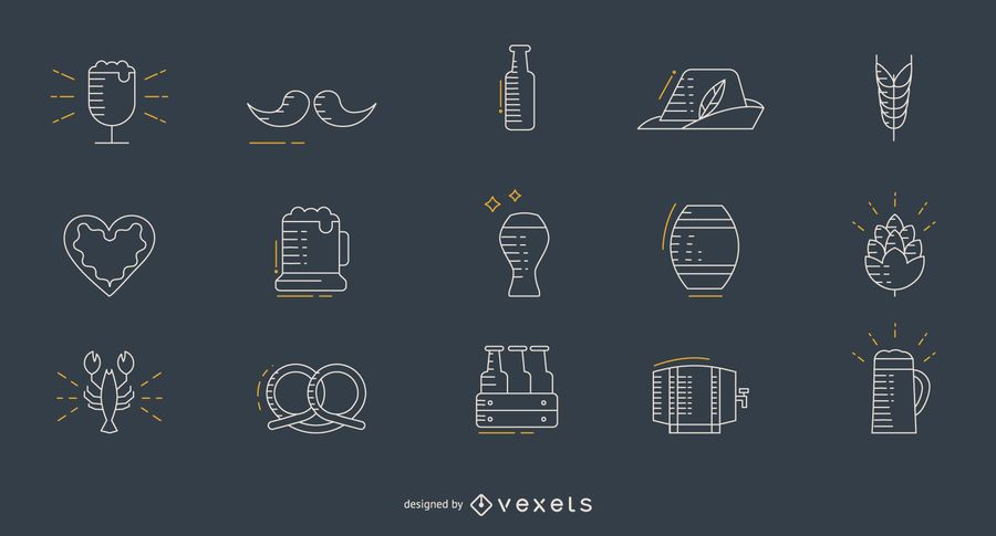 Conjunto de ícones de linha fina de Oktoberfest